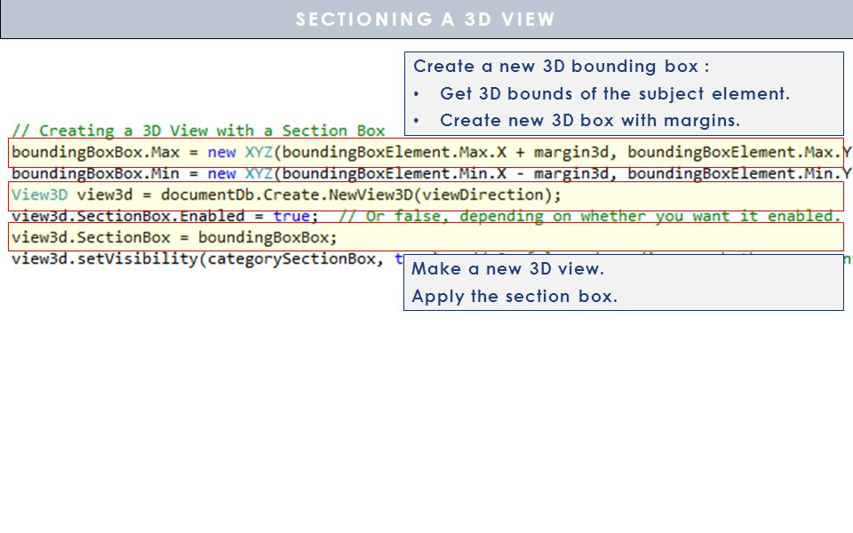 SECTIONING A 3D VIEW Create a new 3D bounding box :