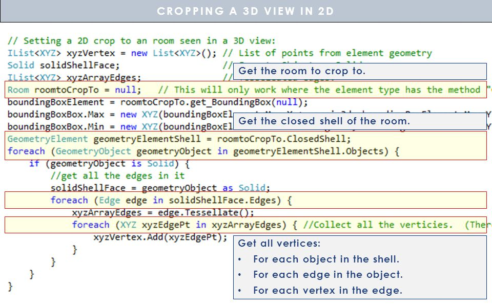 CROPPING A 3D VIEW IN 2D Get the room to crop to.
