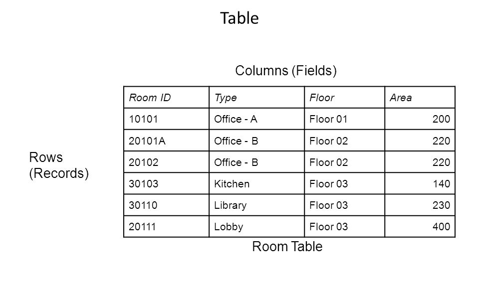 Table Columns (Fields) Rows (Records) Room Table Room ID Type Floor