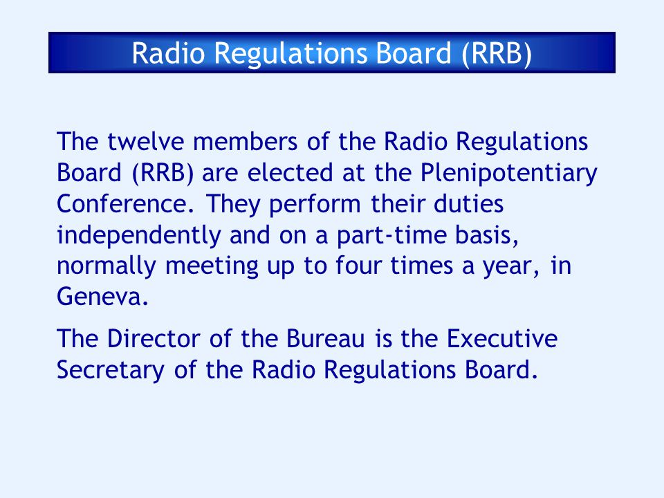Radio Regulations Board (RRB)