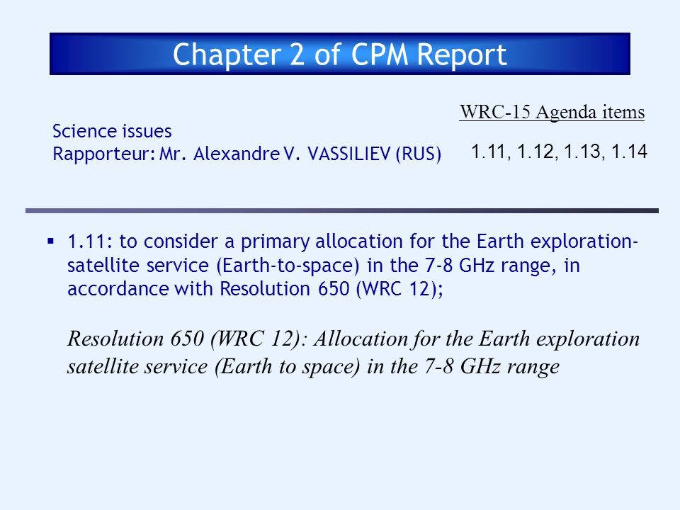 Chapter 2 of CPM Report WRC-15 Agenda items