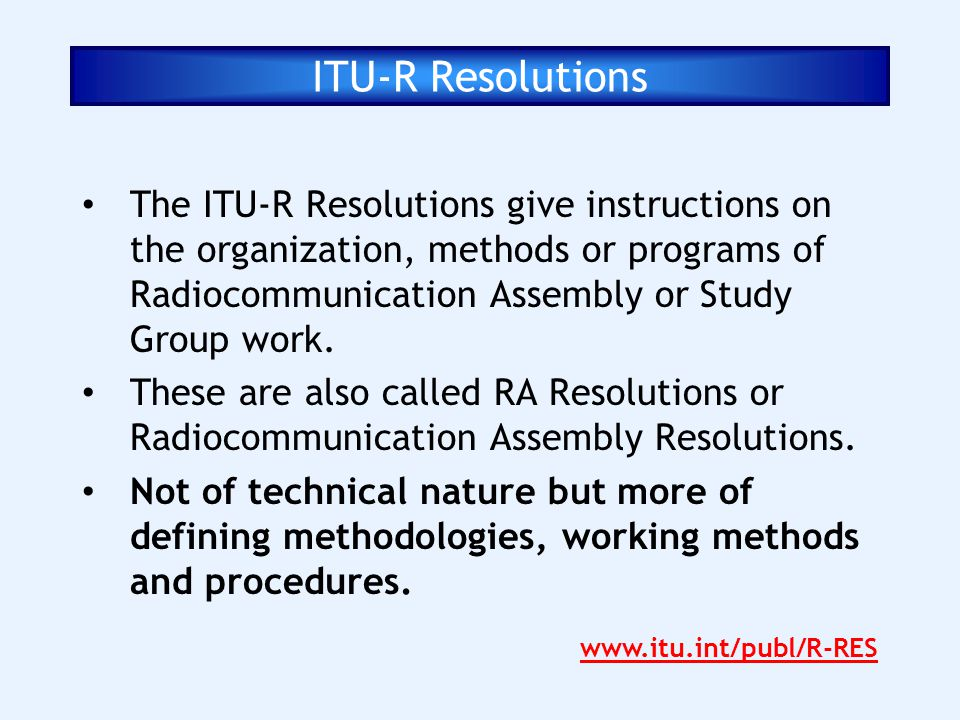 ITU-R Resolutions
