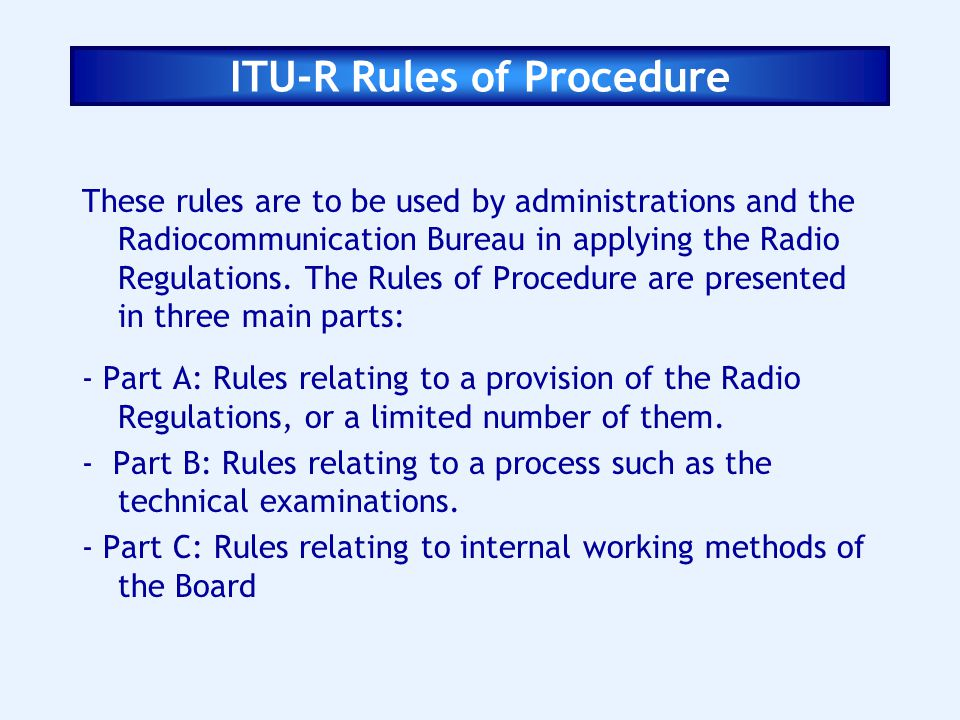 ITU-R Rules of Procedure