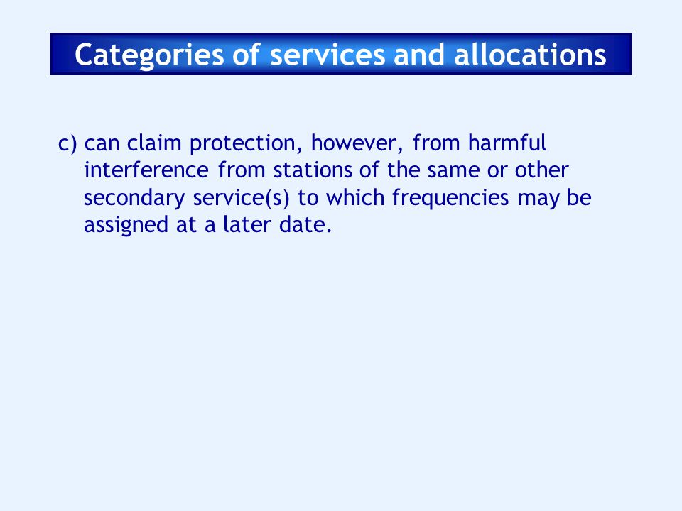 Categories of services and allocations