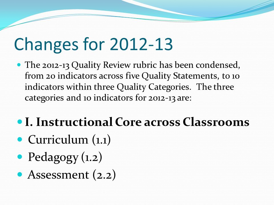 Changes for 2012-13 I. Instructional Core across Classrooms