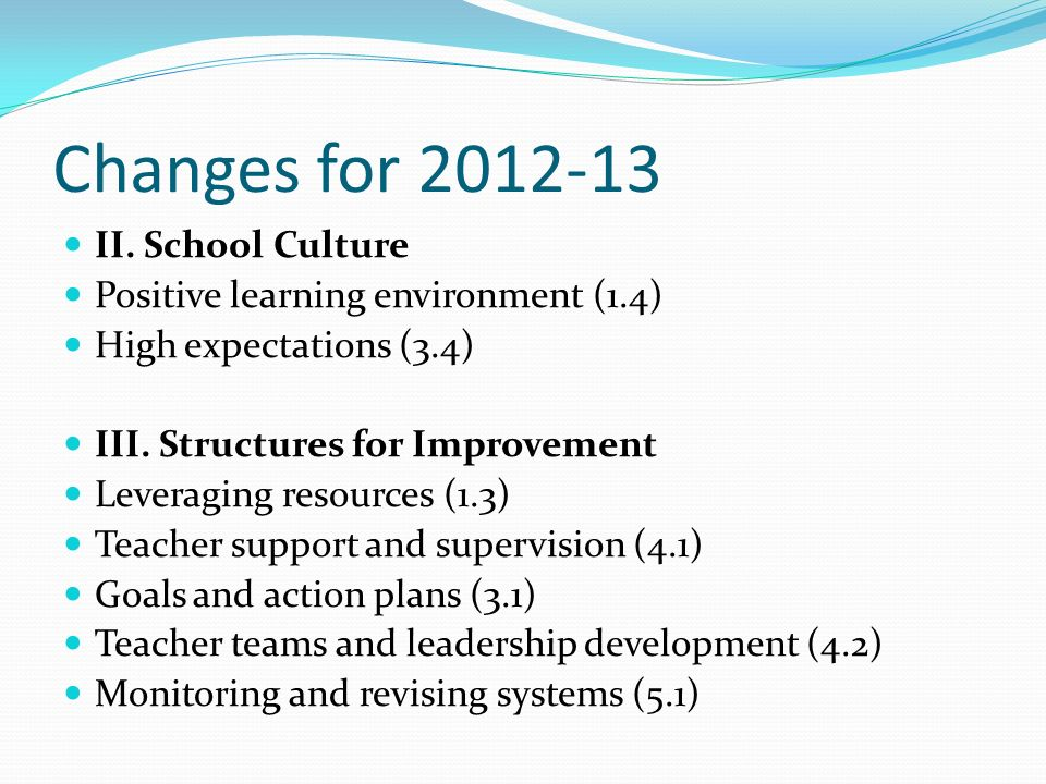 Changes for 2012-13 II. School Culture
