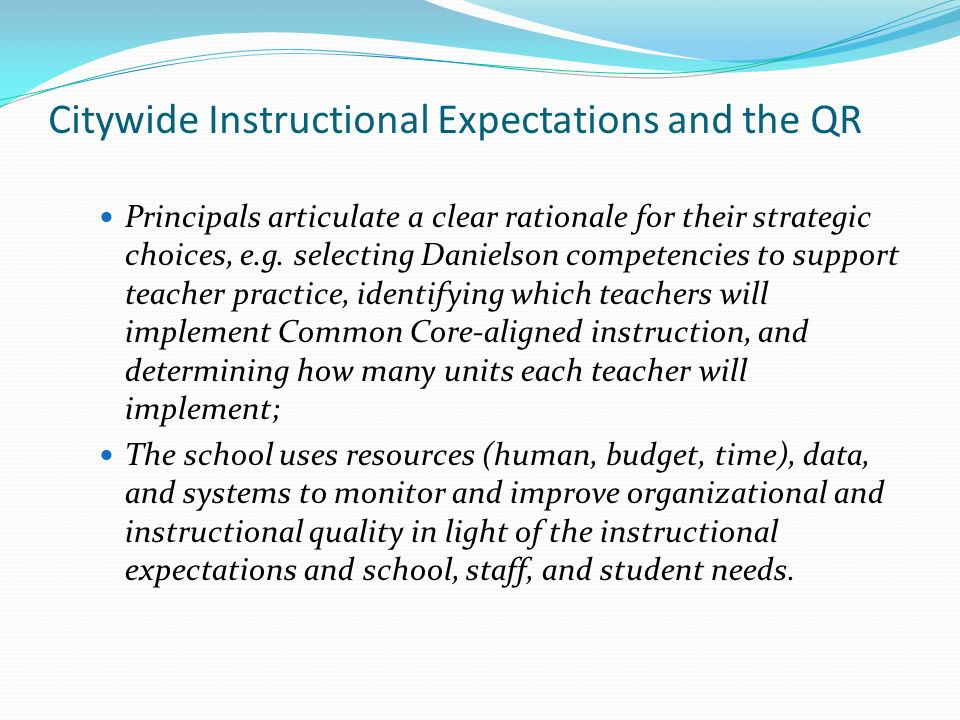 Citywide Instructional Expectations and the QR