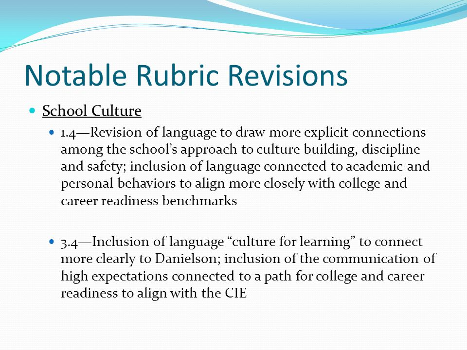 Notable Rubric Revisions