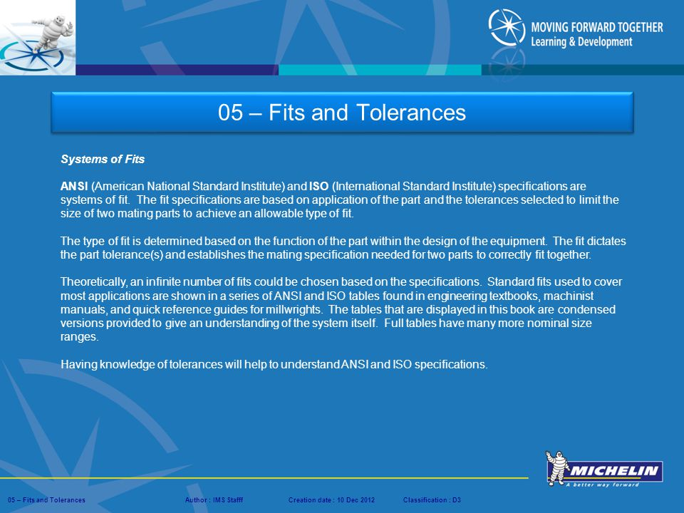 05 – Fits and Tolerances Systems of Fits