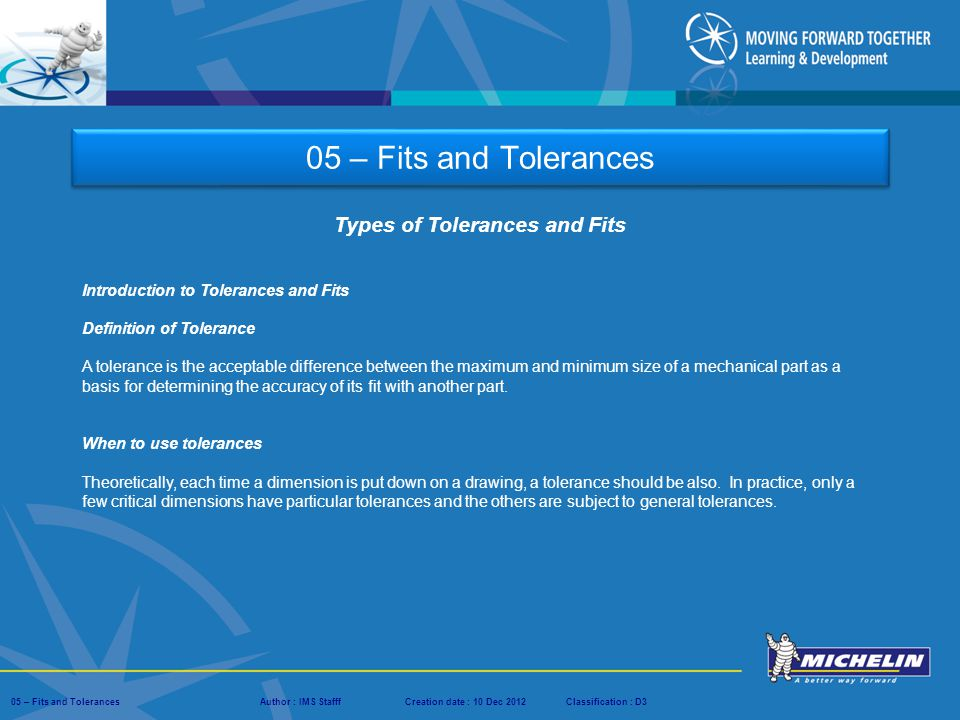 Types of Tolerances and Fits