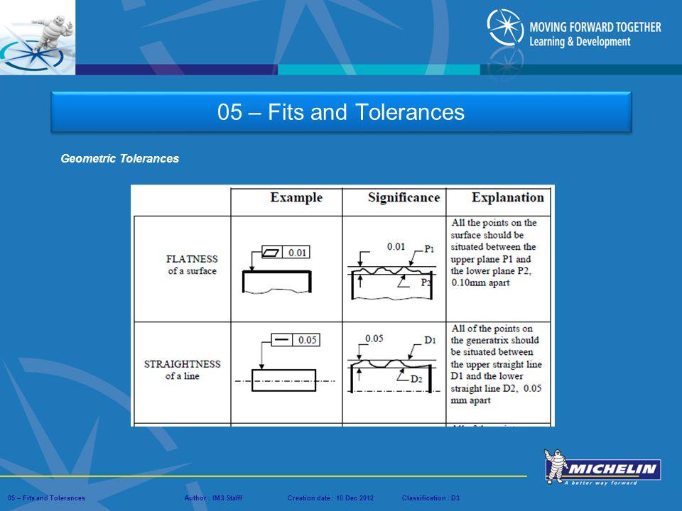 05 – Fits and Tolerances Geometric Tolerances