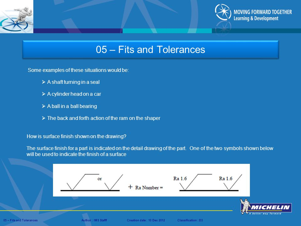05 – Fits and Tolerances Some examples of these situations would be: