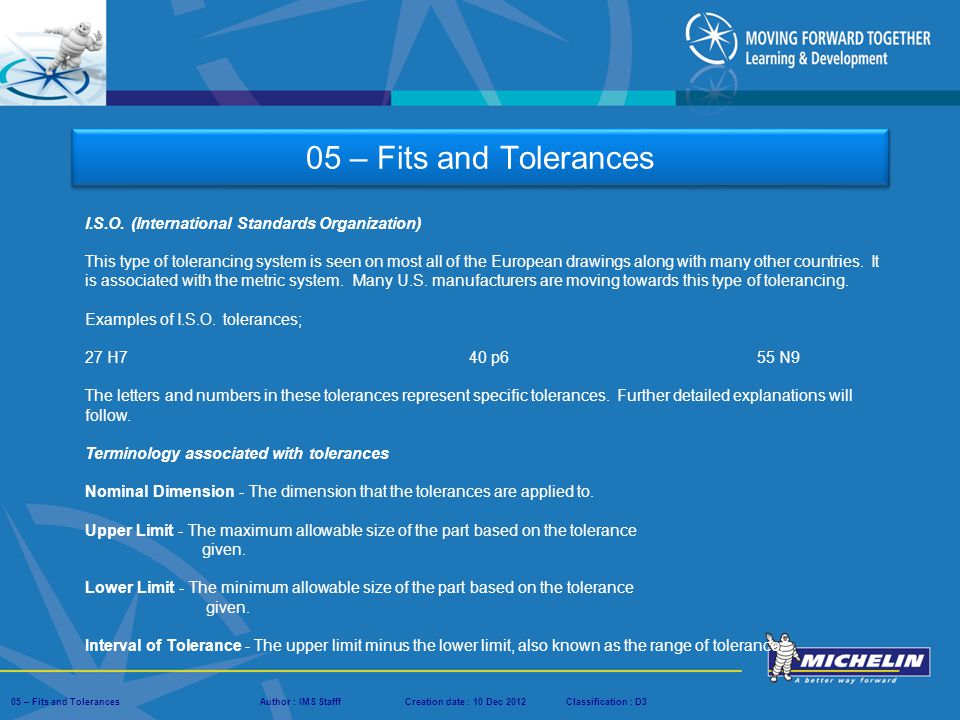 05 – Fits and Tolerances I.S.O. (International Standards Organization)