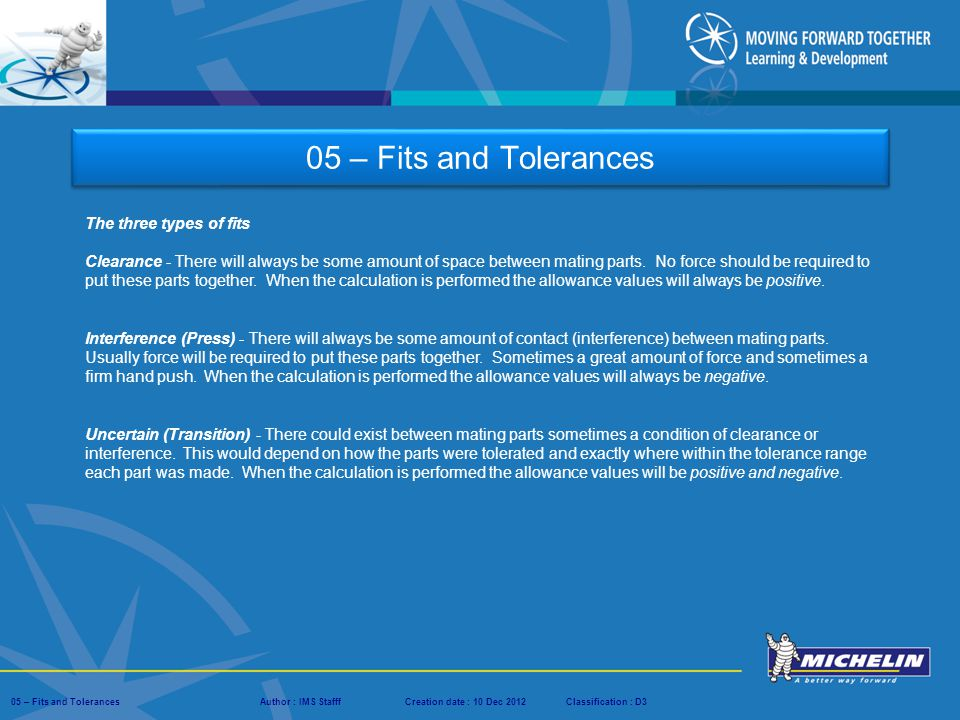 05 – Fits and Tolerances The three types of fits