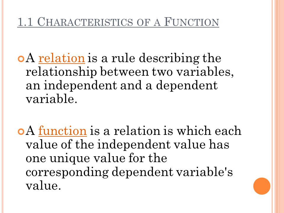1.1 Characteristics of a Function