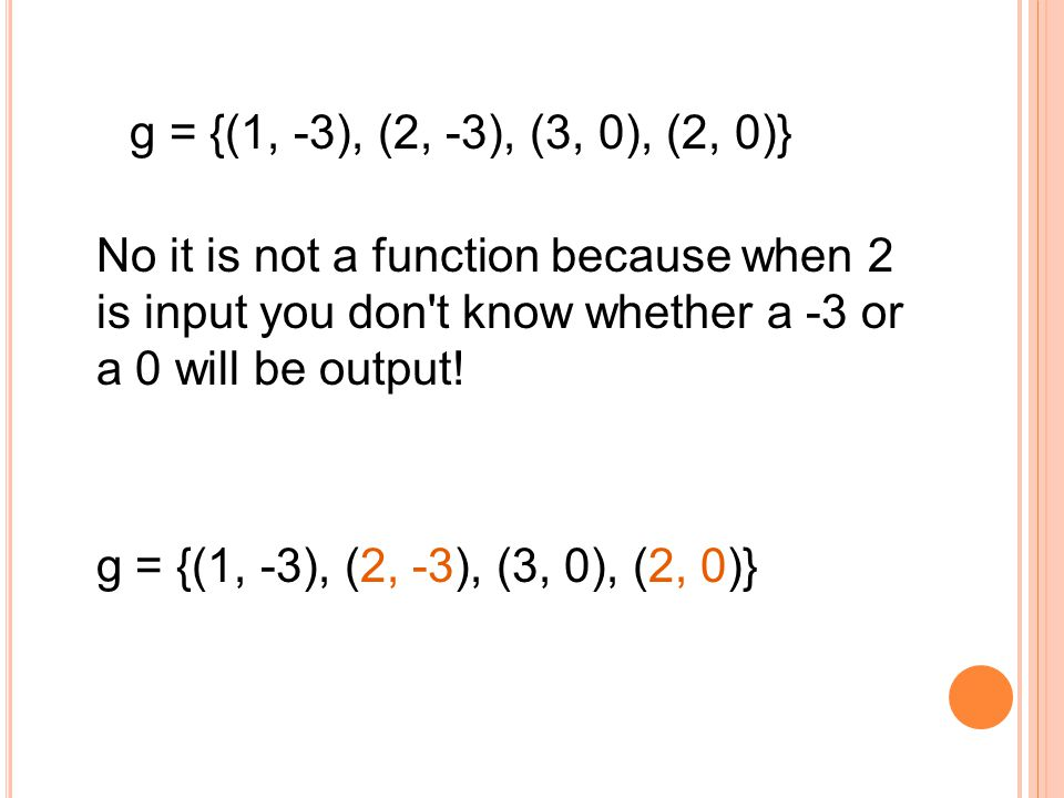 g = {(1, -3), (2, -3), (3, 0), (2, 0)} No it is not a function because when 2 is input you don t know whether a -3 or a 0 will be output!