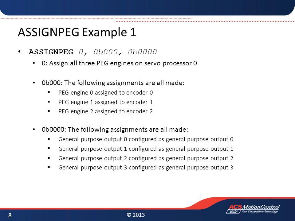 ASSIGNPEG Example 1 ASSIGNPEG 0, 0b000, 0b0000