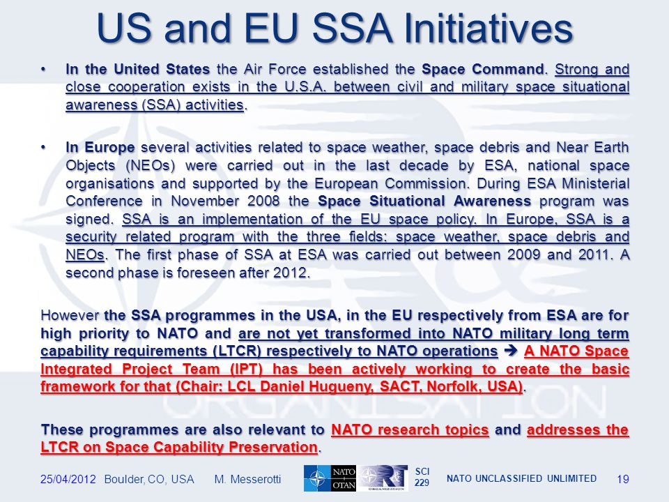 US and EU SSA Initiatives