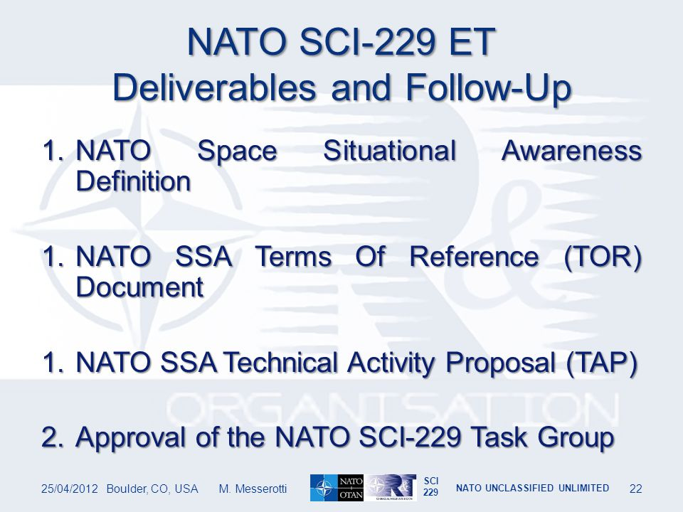 NATO SCI-229 ET Deliverables and Follow-Up