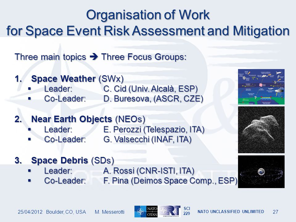 Organisation of Work for Space Event Risk Assessment and Mitigation