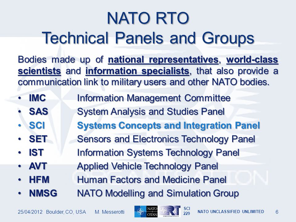 NATO RTO Technical Panels and Groups
