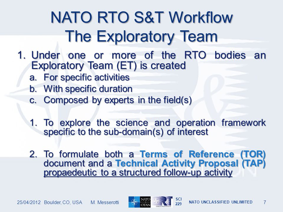 NATO RTO S&T Workflow The Exploratory Team