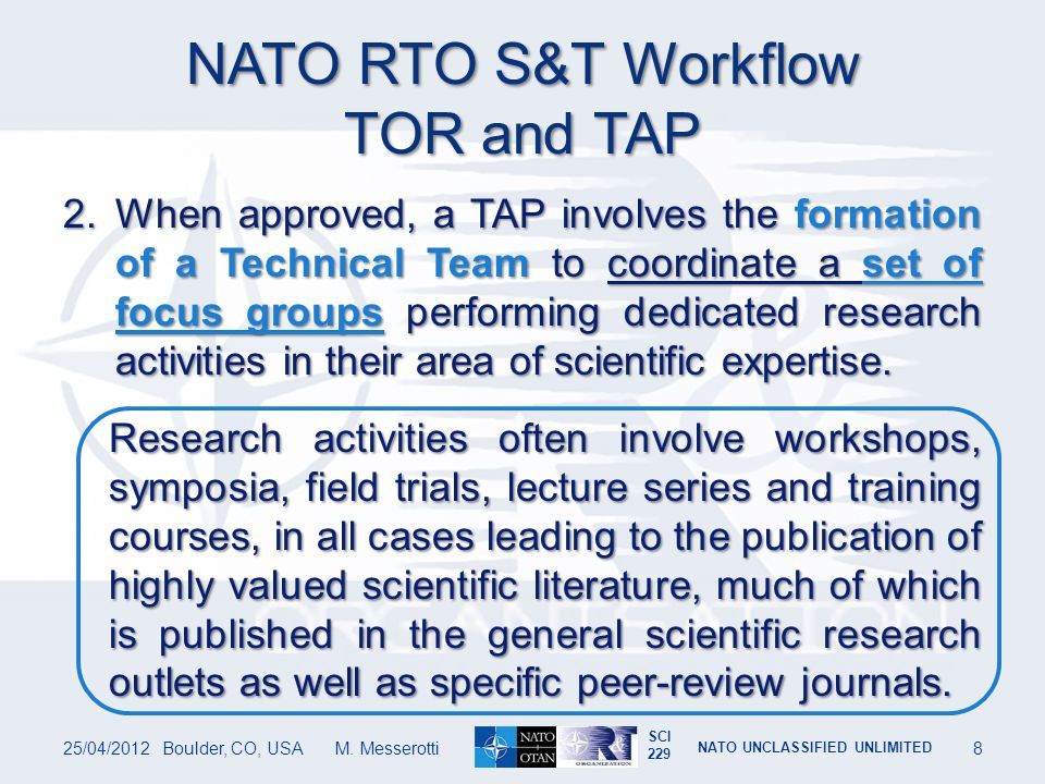 NATO RTO S&T Workflow TOR and TAP