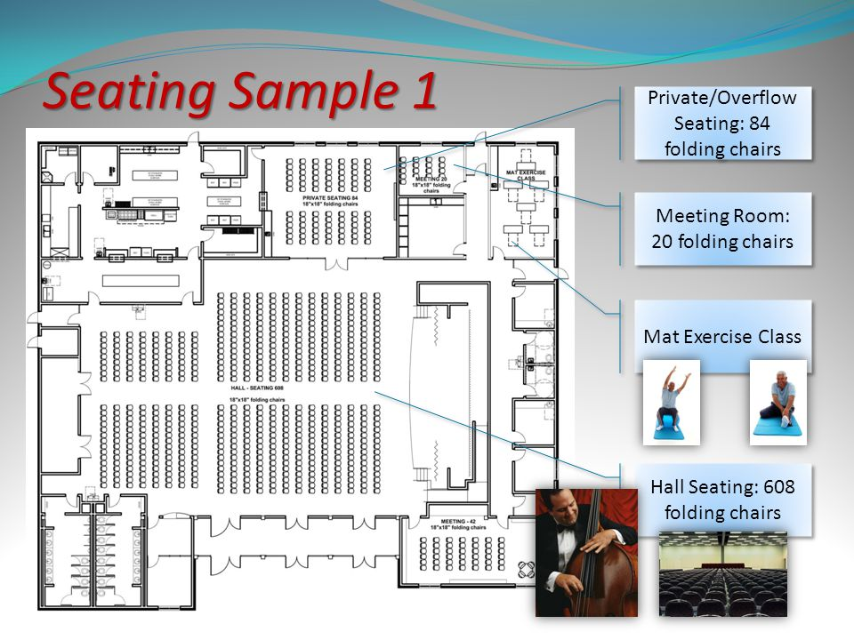 Seating Sample 1 Private/Overflow Seating: 84 folding chairs