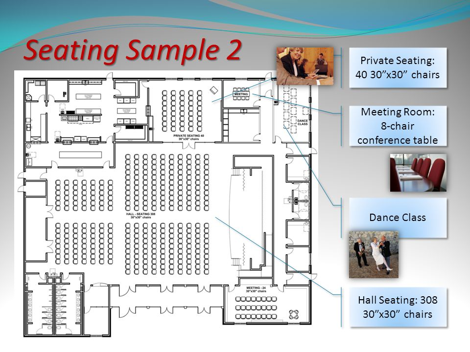 Seating Sample 2 Private Seating: 40 30 x30 chairs Meeting Room: