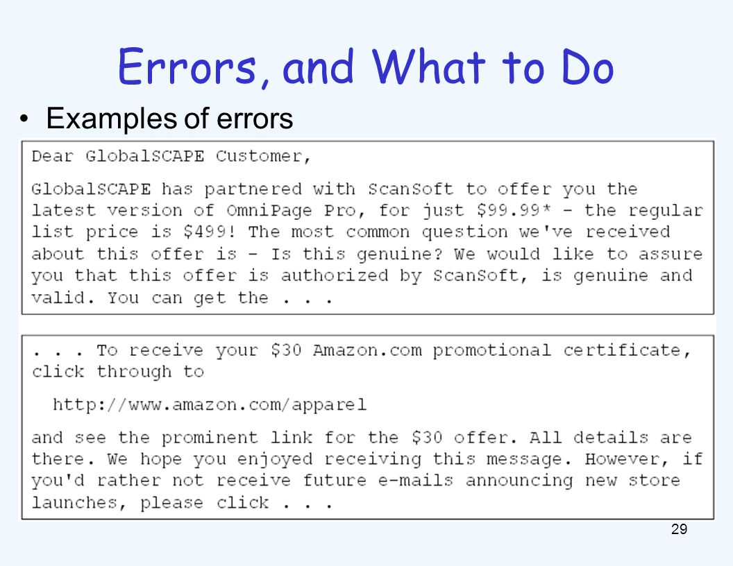 What to Do About Errors Need more features- words aren't enough!