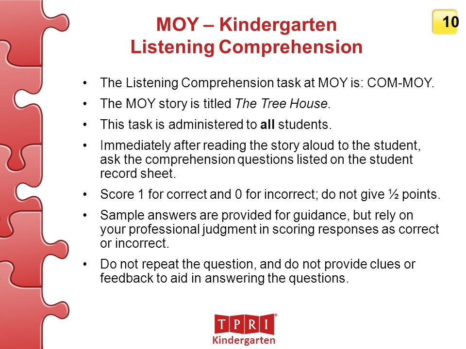 MOY – Kindergarten Listening Comprehension