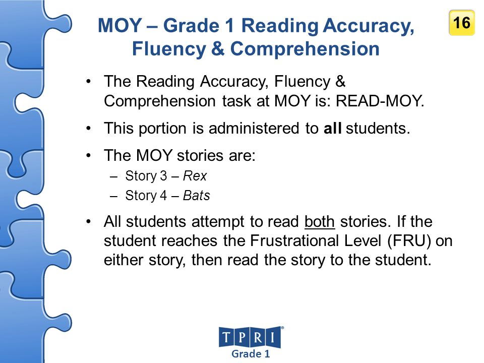 MOY – Grade 1 Reading Accuracy, Fluency & Comprehension