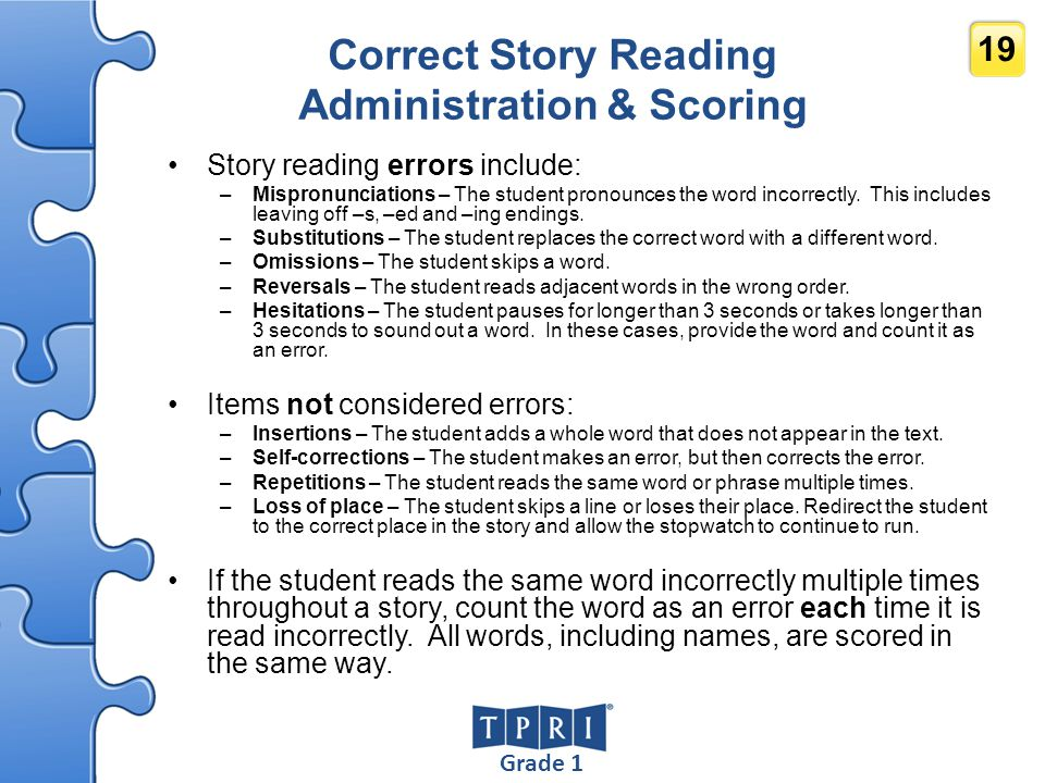 Correct Story Reading Administration & Scoring