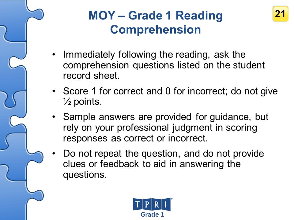 MOY – Grade 1 Reading Comprehension