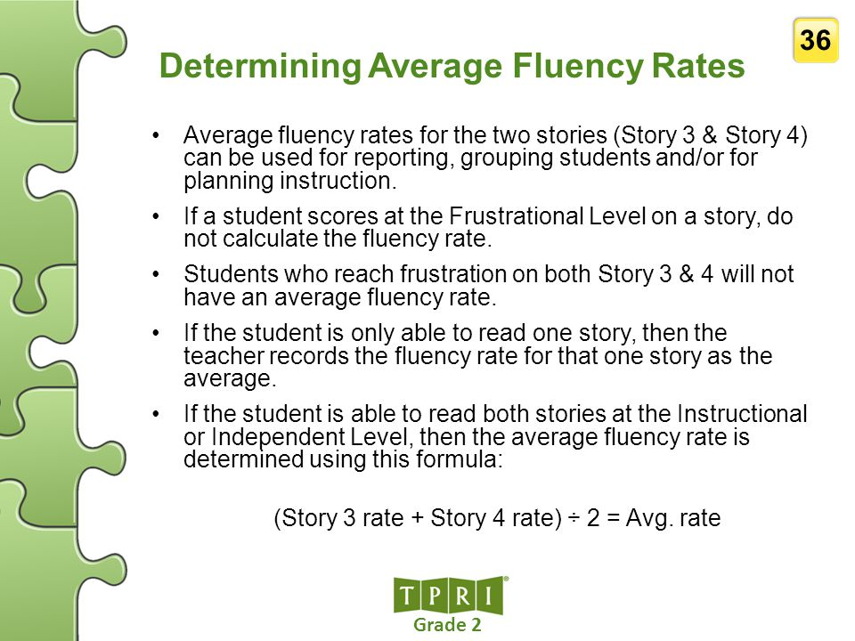 Determining Average Fluency Rates