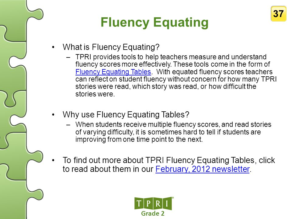 Fluency Equating What is Fluency Equating