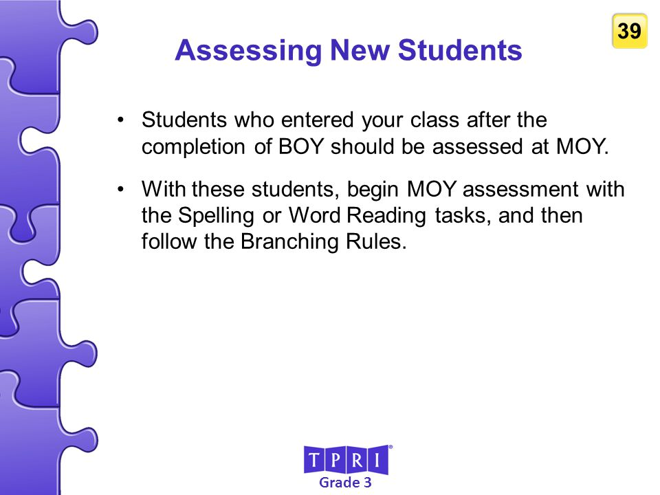 Assessing New Students
