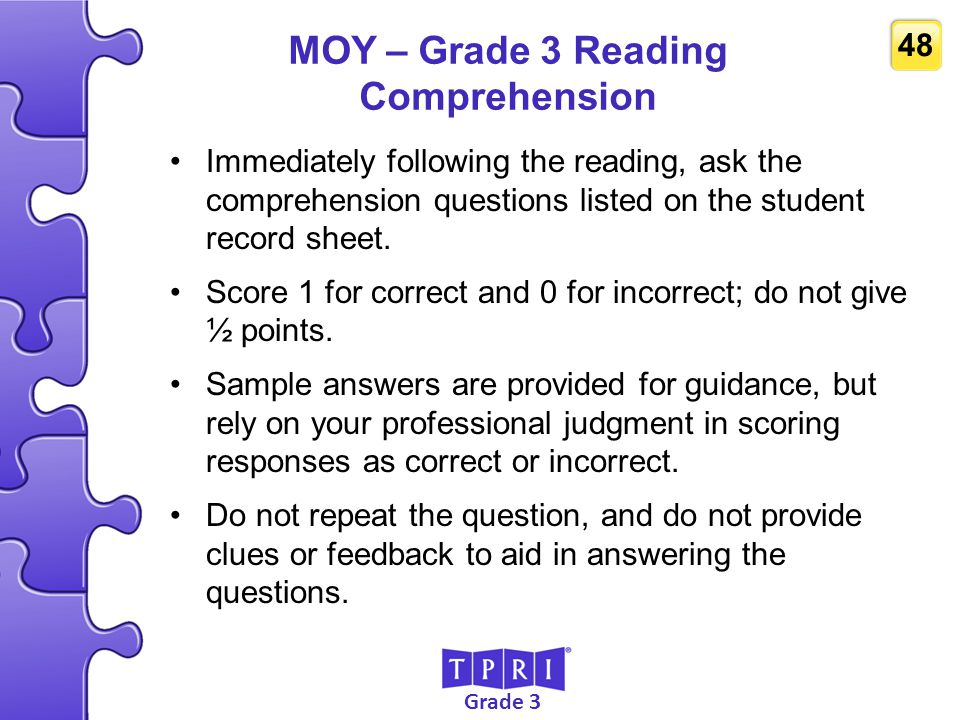 MOY – Grade 3 Reading Comprehension