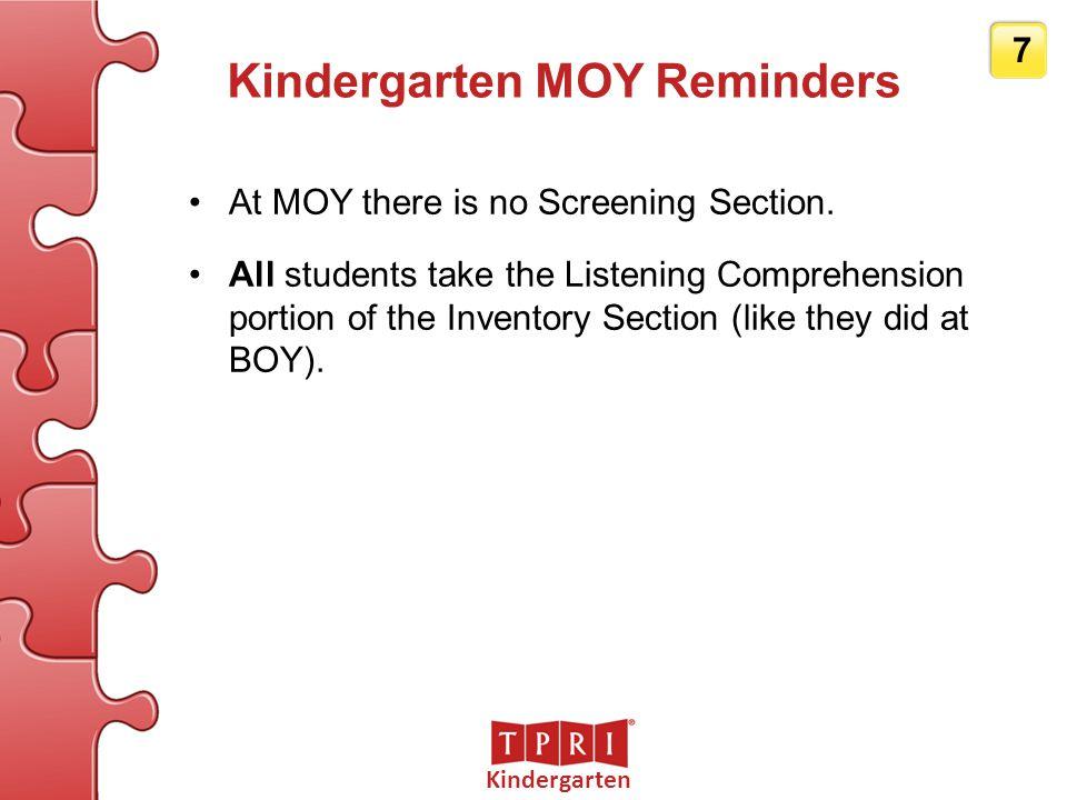 Kindergarten MOY Reminders