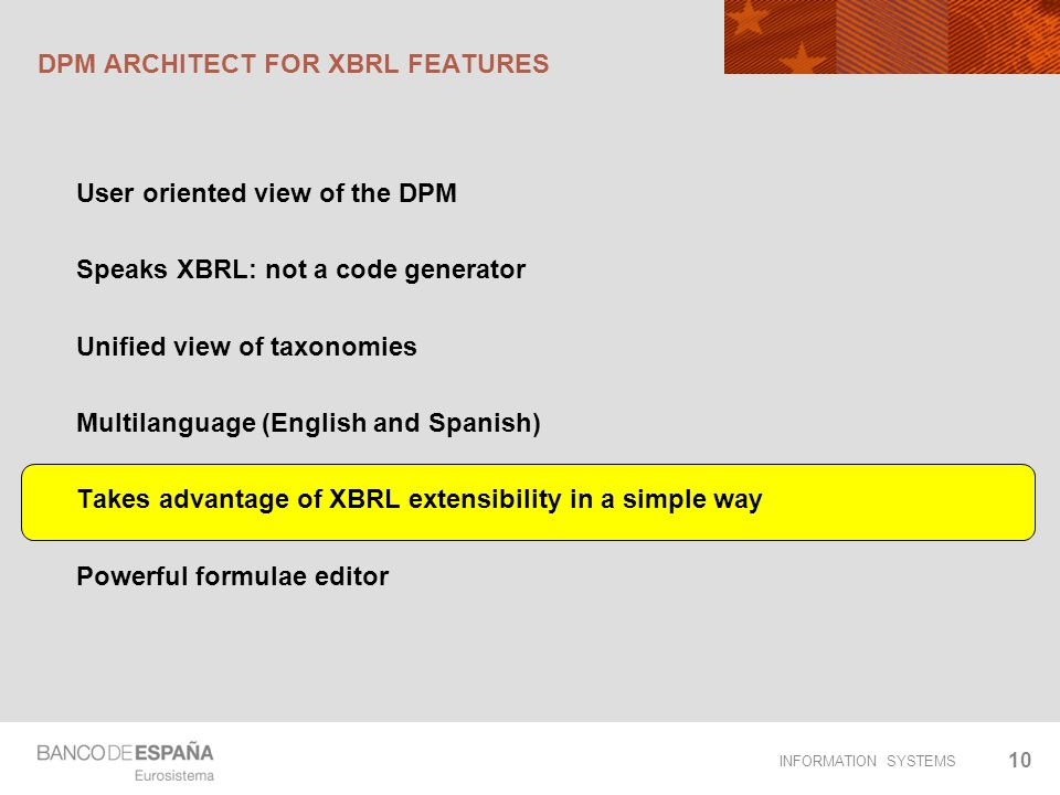 DPM ARCHITECT FOR XBRL FEATURES