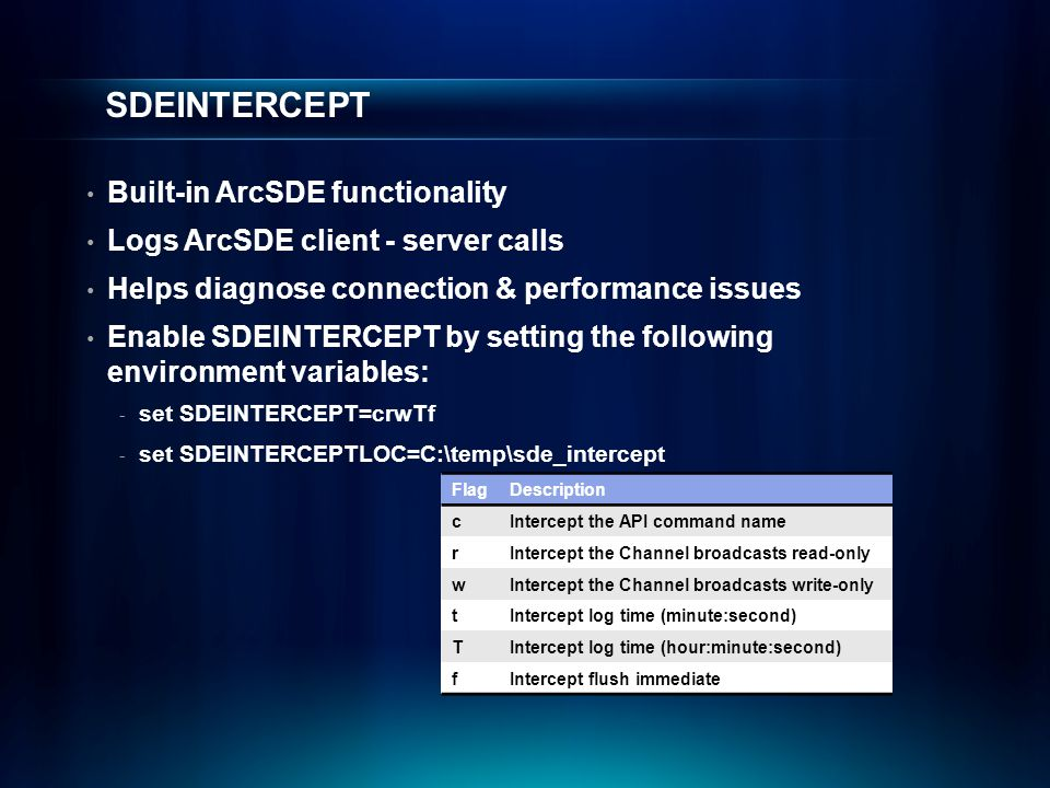 SDEINTERCEPT Built-in ArcSDE functionality