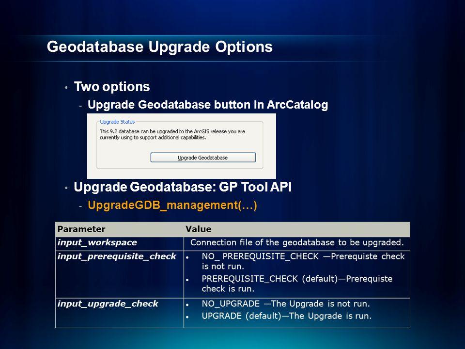 Geodatabase Upgrade Options