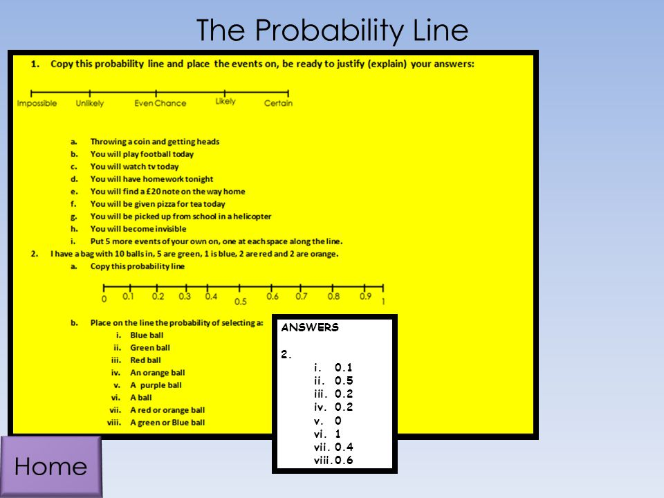 The Probability Line ANSWERS 2. 0.1 0.5 0.2 1 0.4 0.6 Home