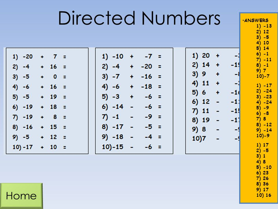 Directed Numbers Home ANSWERS