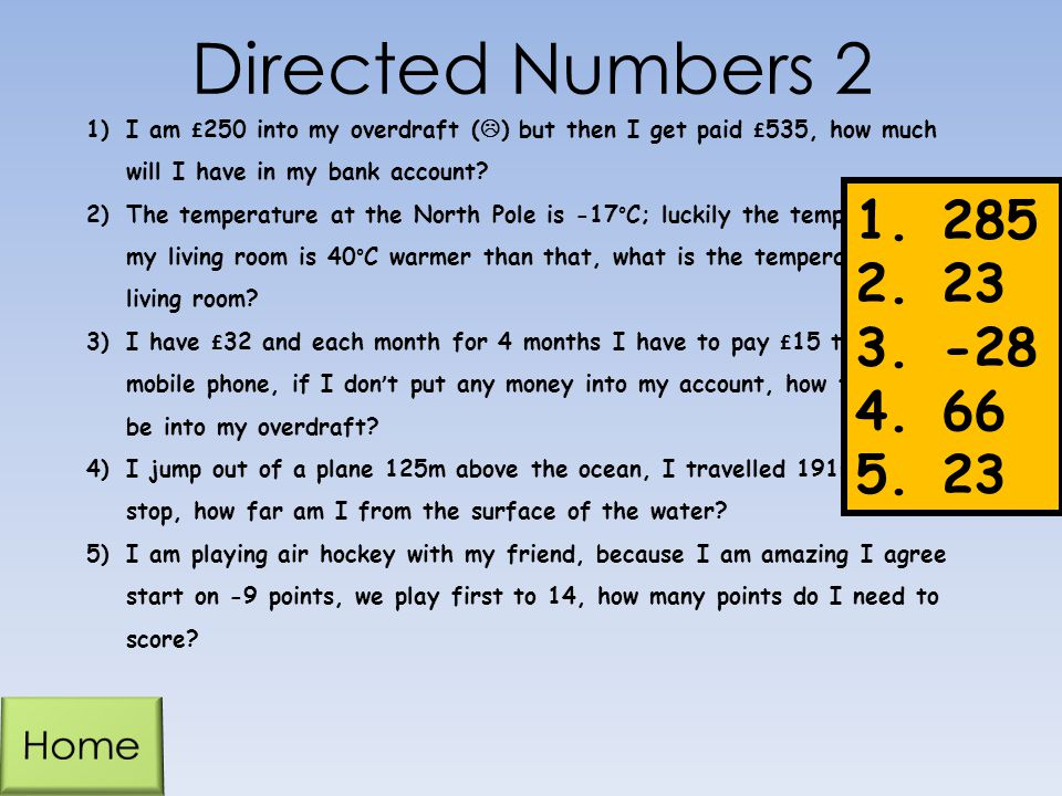 Directed Numbers 2 285 23 -28 66 Home