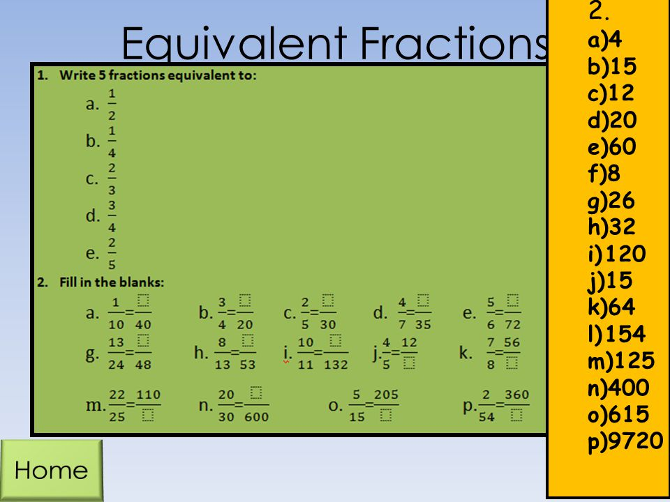 Equivalent Fractions 2. Home 4 15 12 20 60 8 26 32 120 64 154 125 400
