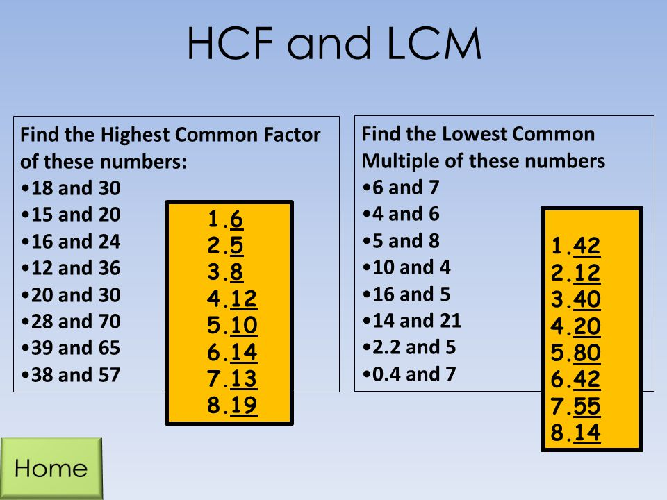 HCF and LCM Home Find the Highest Common Factor of these numbers: