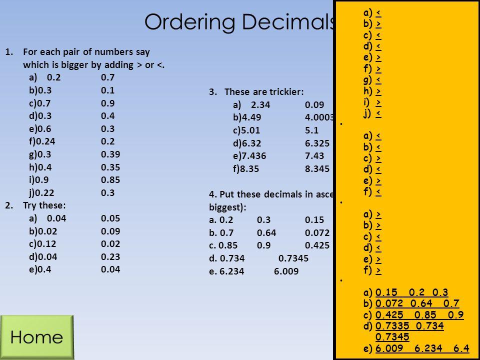 Ordering Decimals Home