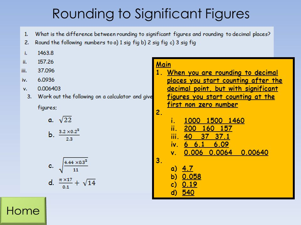 Rounding to Significant Figures