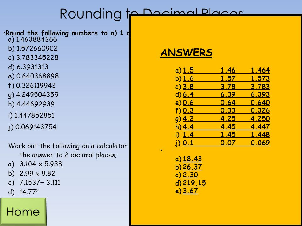 Rounding to Decimal Places